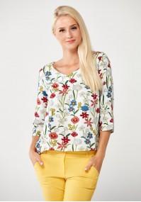 Biała Bluzka w kolorowe kwiaty