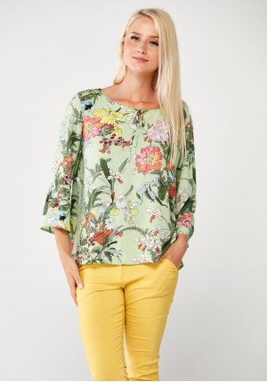 Green Blouse with pastel flowers