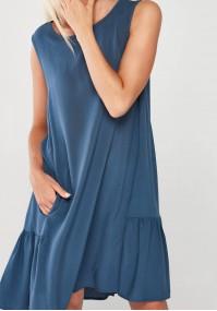 Denimowa Sukienka z falbaną