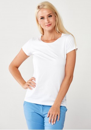 Biała klasyczna bawełniana Bluzka