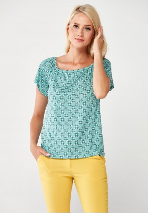 Green Blouse with little flowers