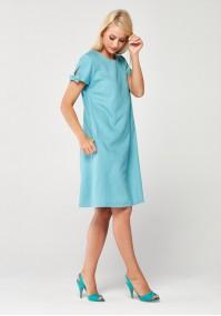 Błękitna lniana Sukienka