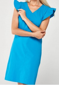 Niebieska elegancka Sukienka z dekoltem w szpic