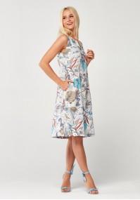 Lniana Sukienka w liście