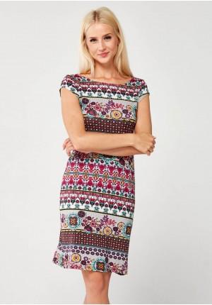 Multikolorowa prosta Sukienka