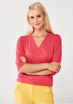 Różowy kopertowy Sweter