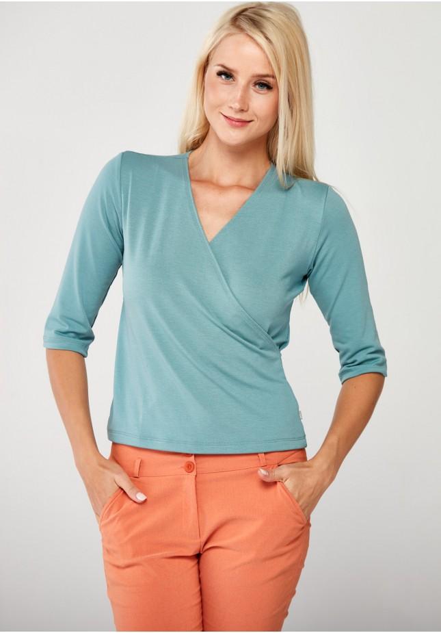Błękitny kopertowy Sweter