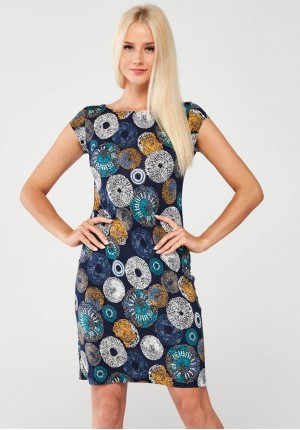 Dress with colorful rosettes