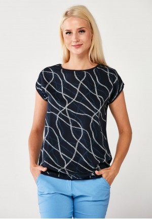 Navy Blouse with silver chains