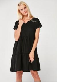 Luźna czarna Sukienka z lnu
