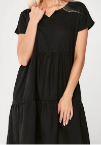 Black linen Dress with pockets