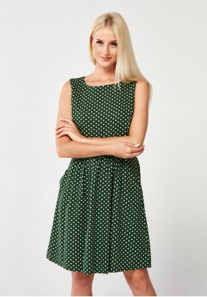 Dark green Dress with dots