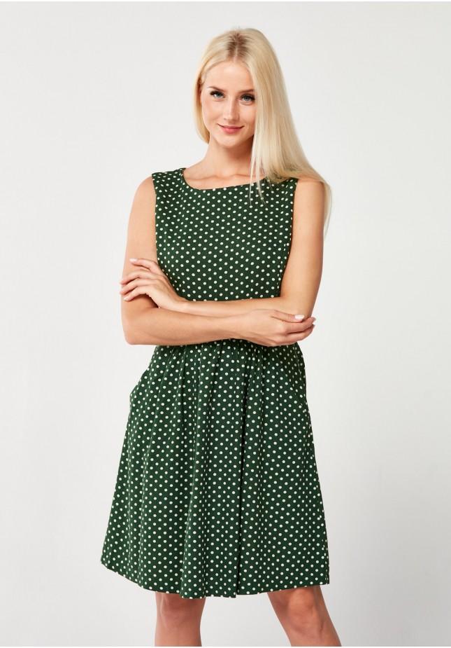 Ciemnozielona Sukienka w groszki