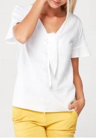 Biała Bluzka z żabotem