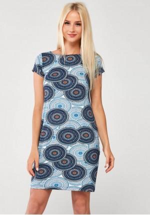 Niebieska Sukienka w pomarańczowe mandale