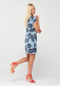 Blue Dress with orange mandalas