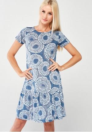 Sukienka z falbaną w kółeczka