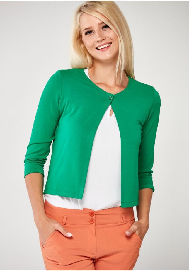 Zielony Sweter z jednym guzikiem