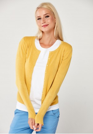 Classic yellow sweater with buttons