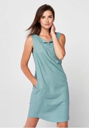 Seledynowa lniana sukienka