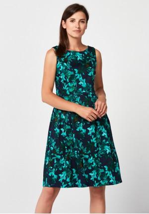 Elegancka czarna kwiecista sukienka