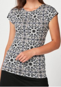 Blouse with grey-black patterns