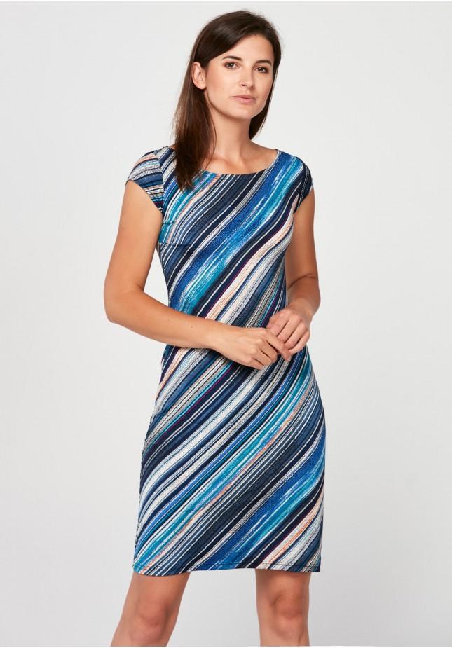 Prosta sukienka w niebieskie pasy