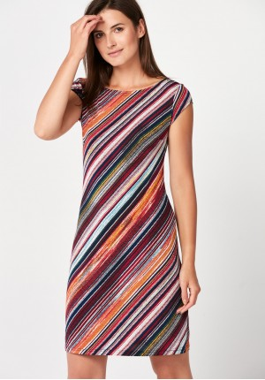 Simple dress with red stripes