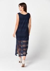 Granatowa sukienka z koronki