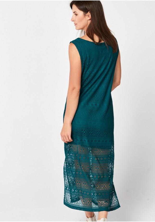Zielona sukienka z koronki