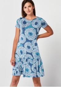 Niebieska Sukienka z falbaną w kółeczka