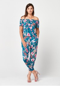 Green jumpsuit with flowers