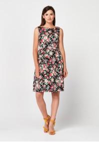 Elegancka sukienka w kolorowe kwiaty