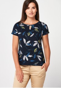 Navy blue blouse with leaves