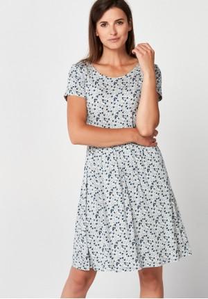 Szara sukienka w kwiatki
