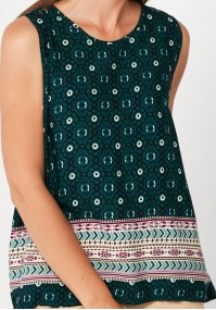 Dark green loose blouse with patterns