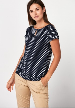 Hearts patterned blouse with short sleeves