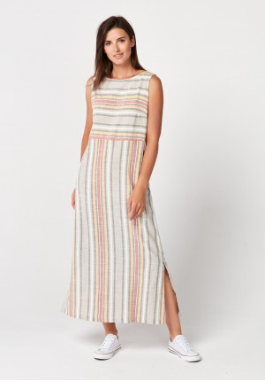 Maxi dress with colorful stripes