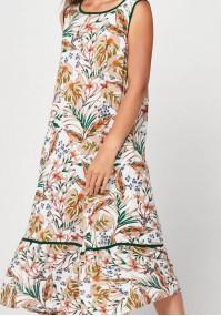 Długa zwiewna sukienka w liście