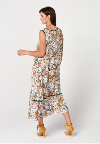 Maxi loose dress with leaves