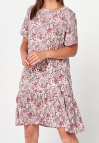 Sukienka z falbaną w czerwone wzorki