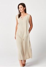 Długa beżowa sukienka