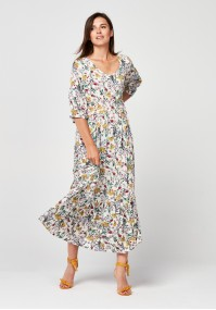 Floral Maxi Dress with cleavage