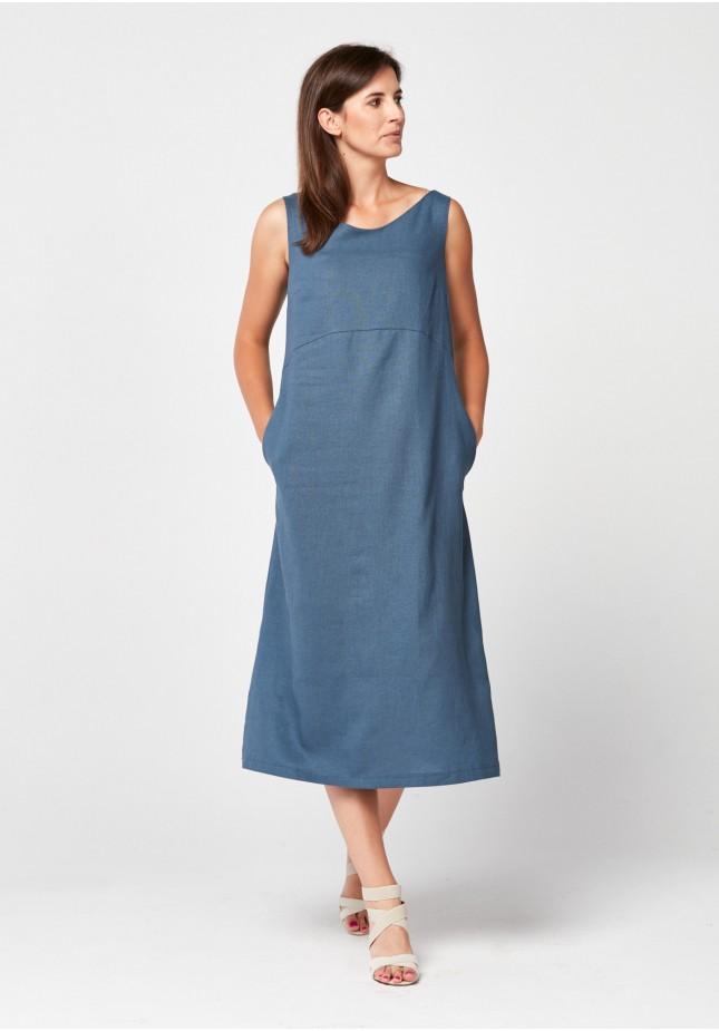 Niebieska lniana Sukienka midi