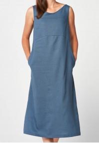 Blue midi linen Dress