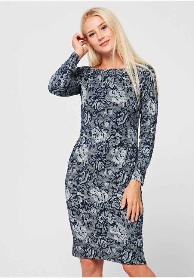 Grey dress with roses