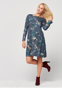 Denim dress with frill