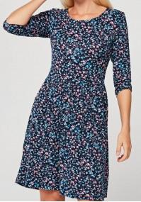 Odcinana sukienka w drobne kwiatki