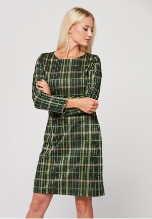 Dark green checkered dress