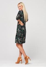 Trapezowa sukienka w roślinny wzór